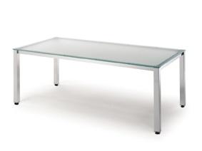 Mesa MG rectangular 4 patas pintadas/cristal templado 5002.