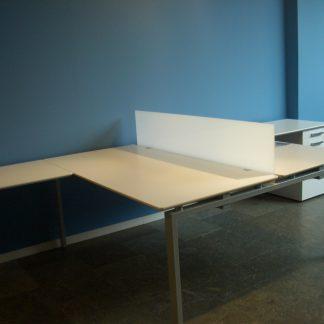 Mesa doble 3R gris plata/blanco.